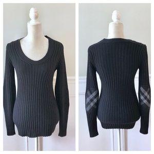 BURBERRY Merino Wool Plaid Elbow Patch Sweater M